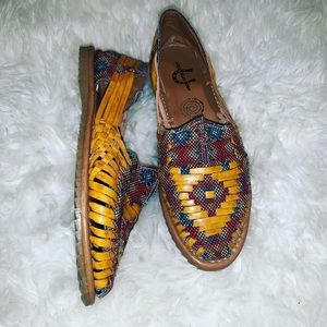 Aztec Leather Slip On Shoes
